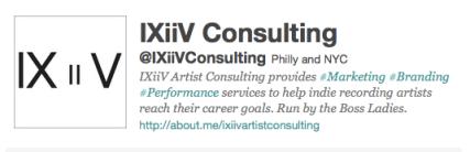 IXiiV Artist Consulting Twitter